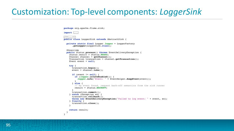 Customization: Top-level components: LoggerSink