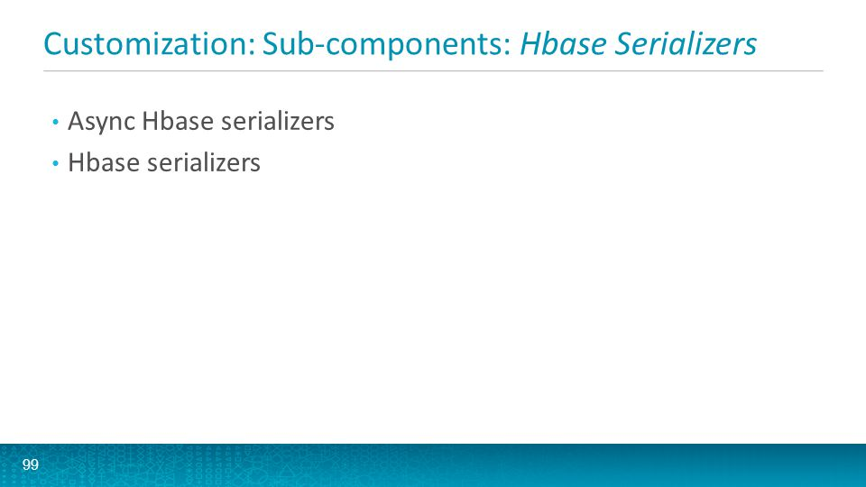 Customization: Sub-components: Hbase Serializers