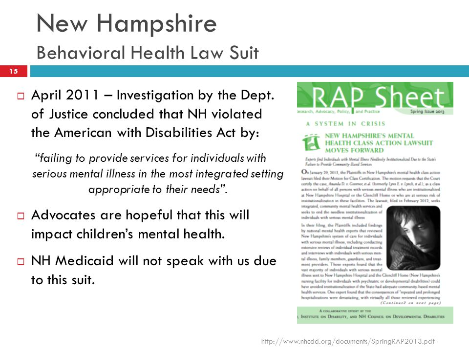 New Hampshire Behavioral Health Law Suit
