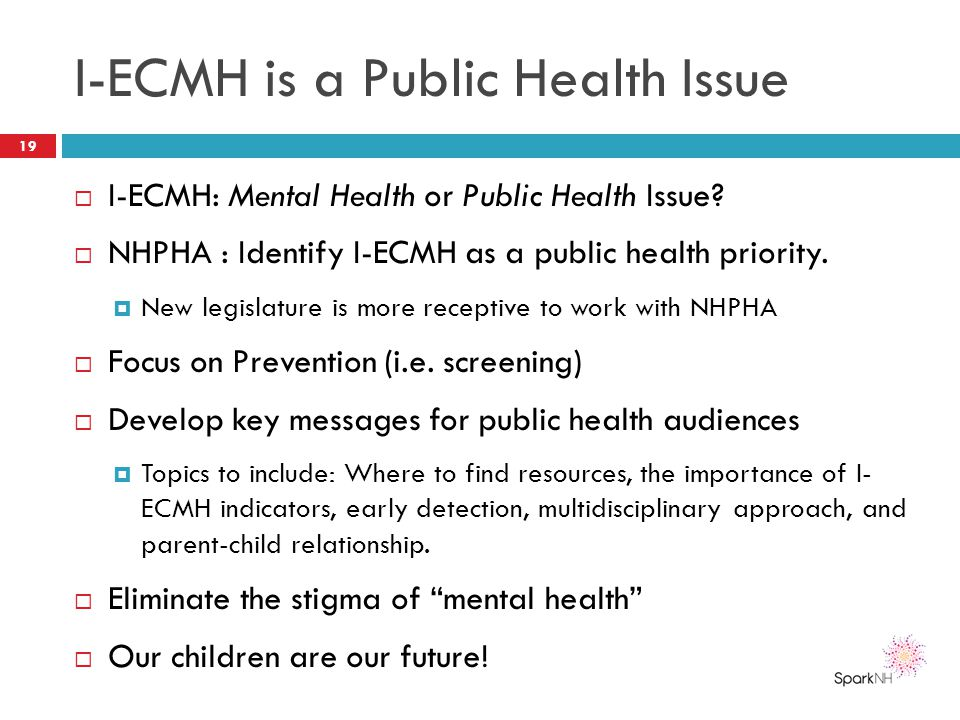 I-ECMH is a Public Health Issue