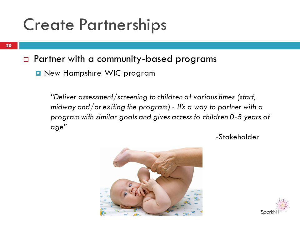 Create Partnerships Partner with a community-based programs