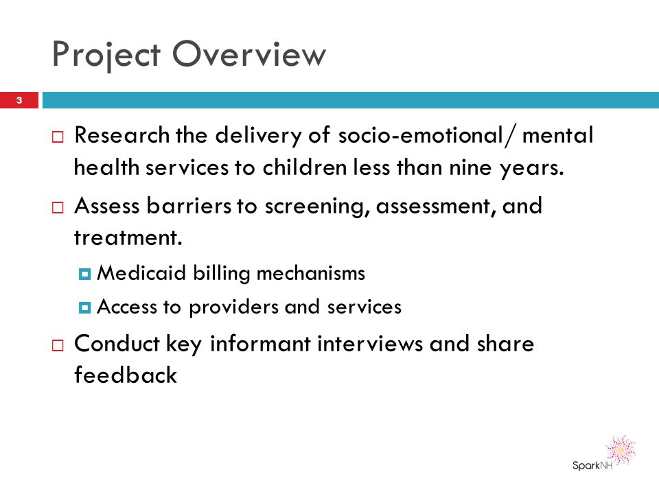 Project Overview Research the delivery of socio-emotional/ mental health services to children less than nine years.