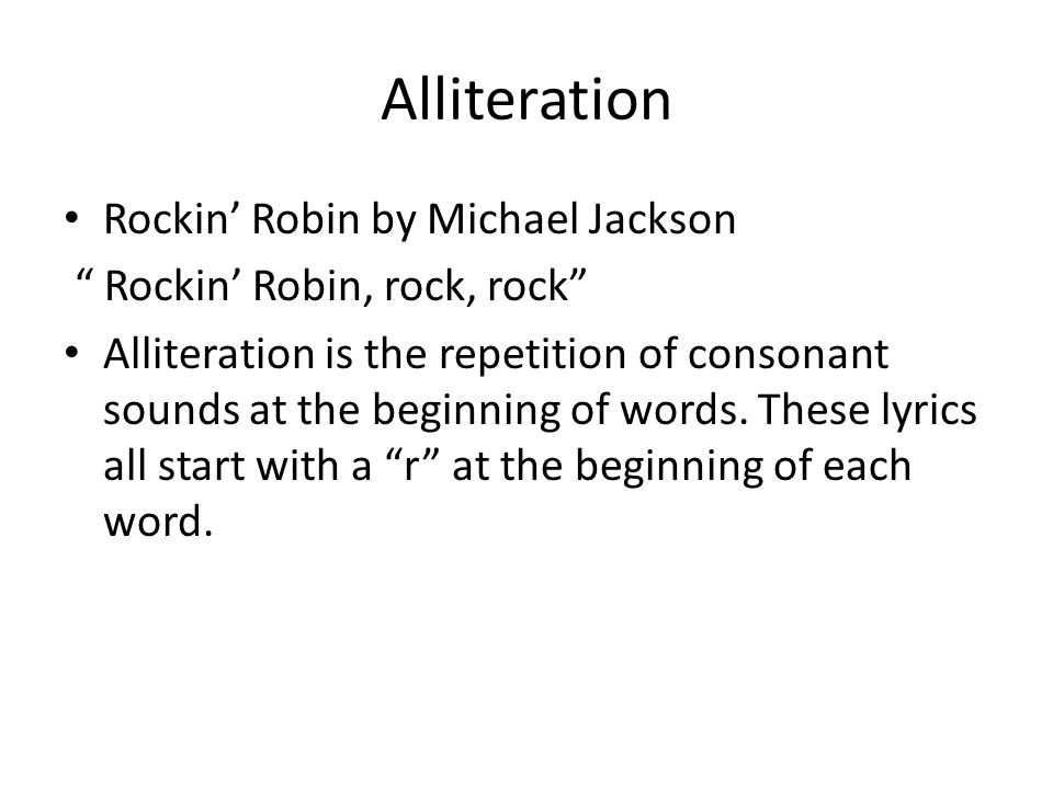 Alliteration Rockin' Robin by Michael Jackson