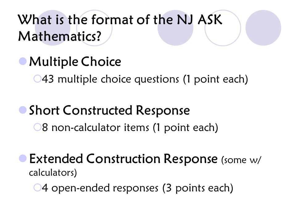 What is the format of the NJ ASK Mathematics