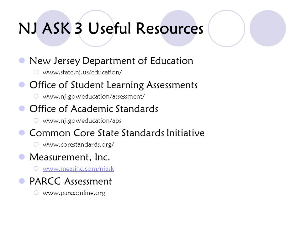 NJ ASK 3 Useful Resources