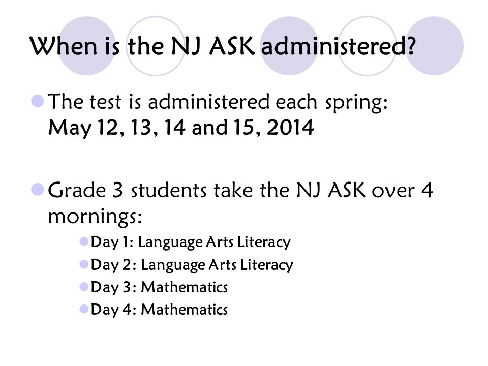 When is the NJ ASK administered