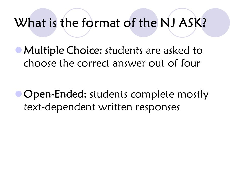 What is the format of the NJ ASK