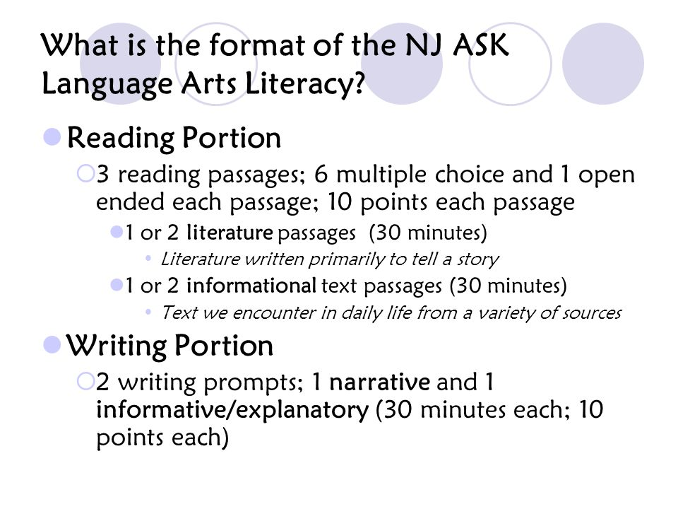 What is the format of the NJ ASK Language Arts Literacy