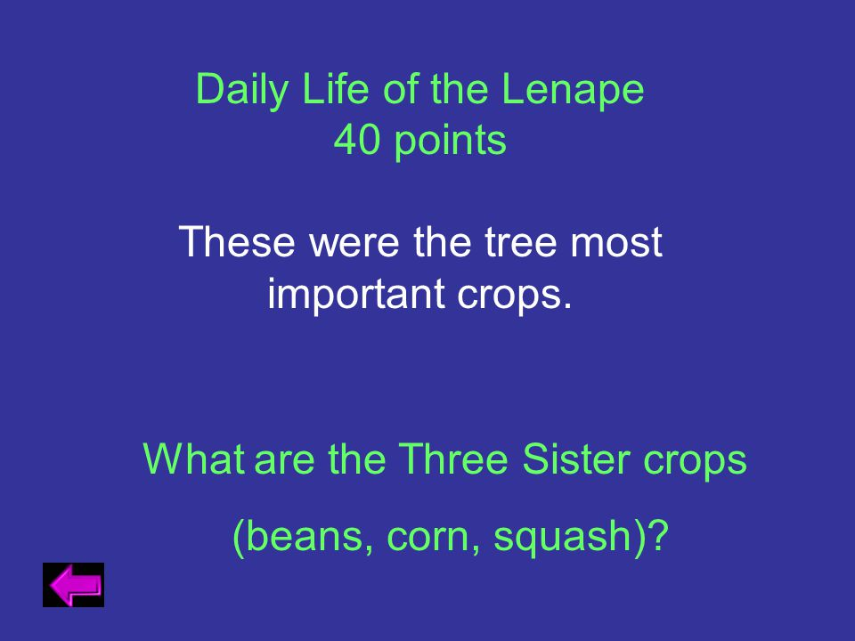 Daily Life of the Lenape 40 points