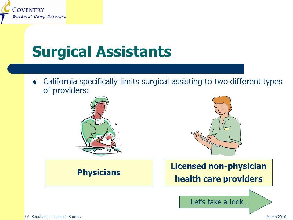 Licensed non-physician health care providers