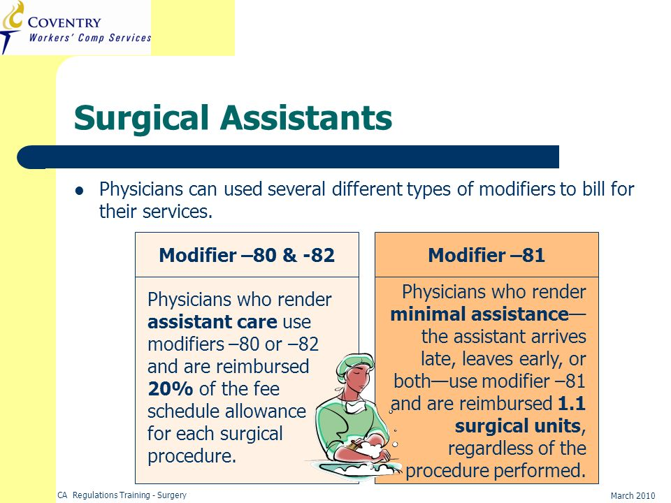 Surgical Assistants Physicians can used several different types of modifiers to bill for their services.