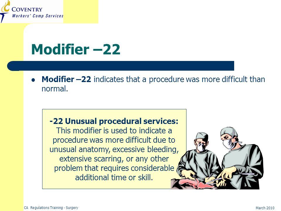 -22 Unusual procedural services: