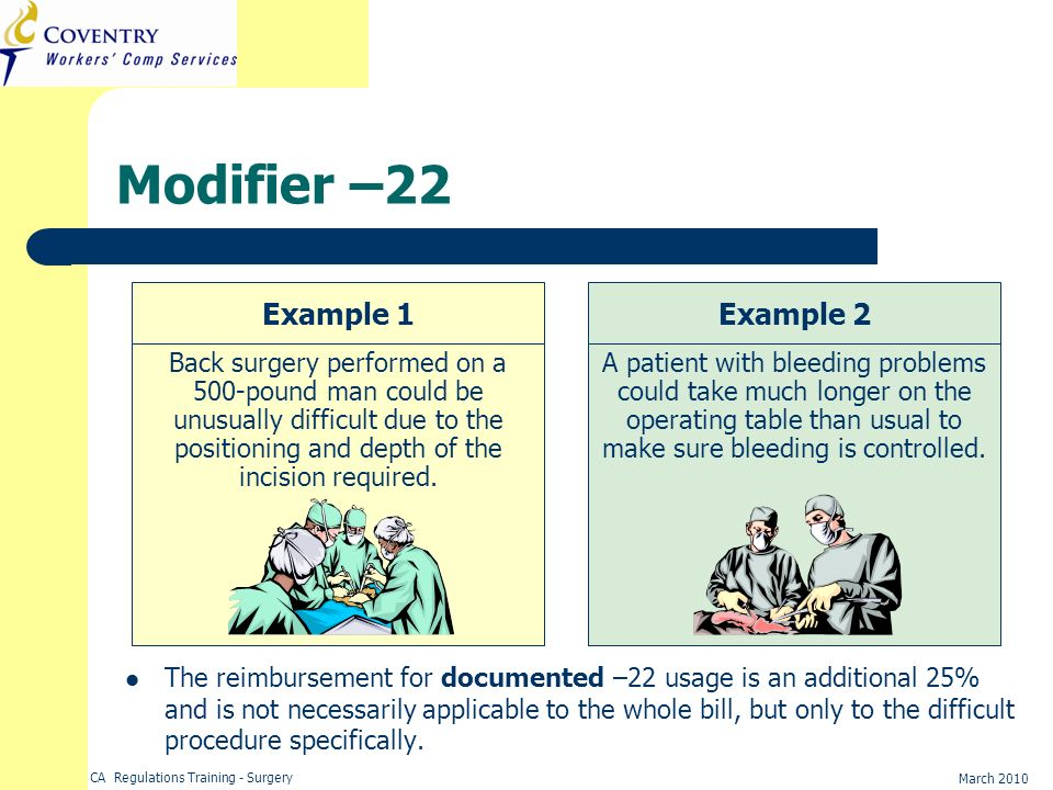 Modifier –22 Example 1 Example 2