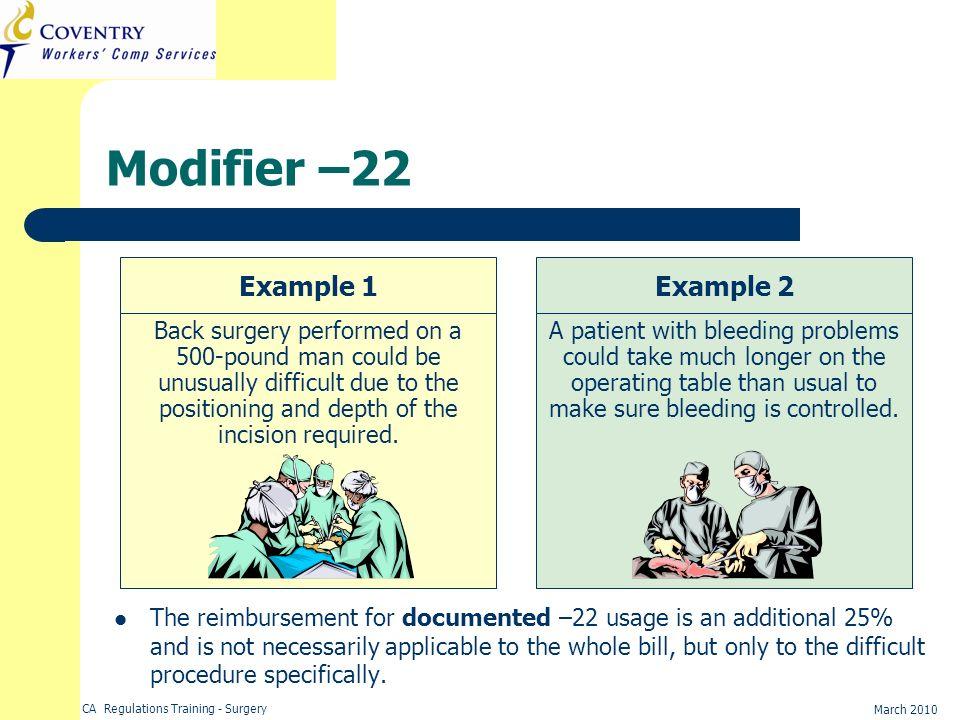 Modifier –22 Example 1 Example 2