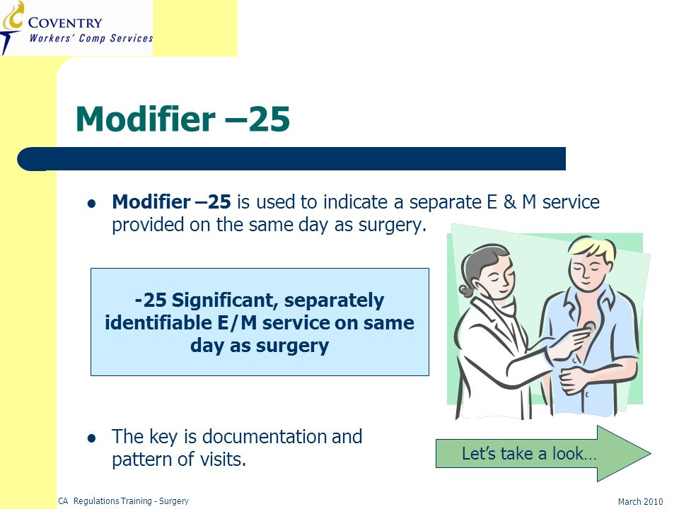 Modifier –25 Modifier –25 is used to indicate a separate E & M service provided on the same day as surgery.