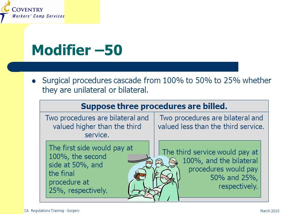 Suppose three procedures are billed.