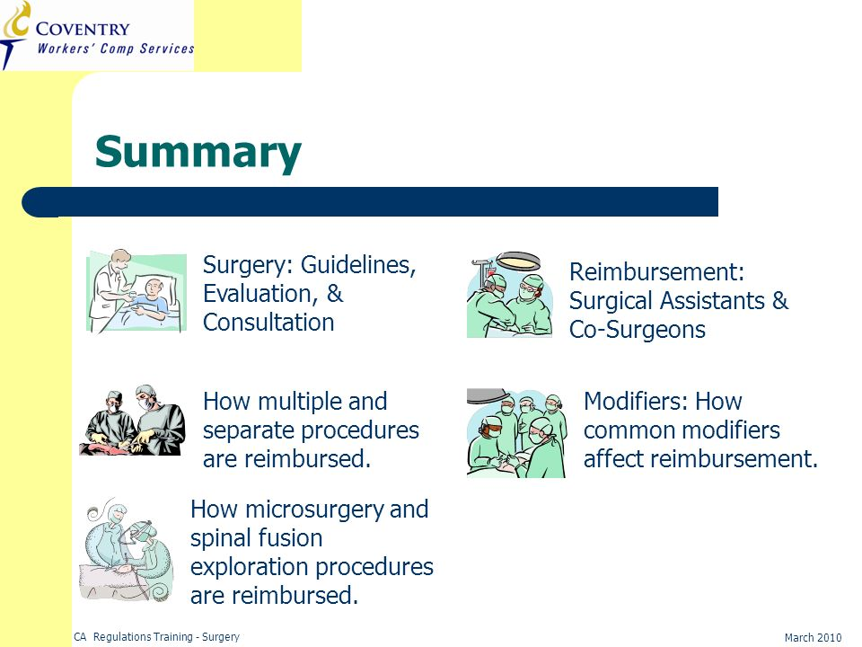 Summary Surgery: Guidelines, Evaluation, & Consultation