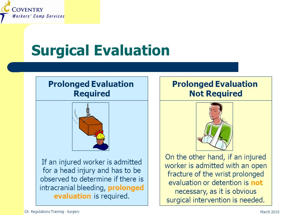 Surgical Evaluation Prolonged Evaluation Required Prolonged Evaluation