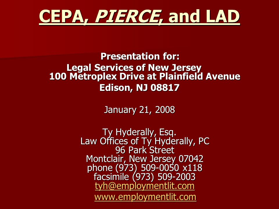 Legal Services of New Jersey 100 Metroplex Drive at Plainfield Avenue