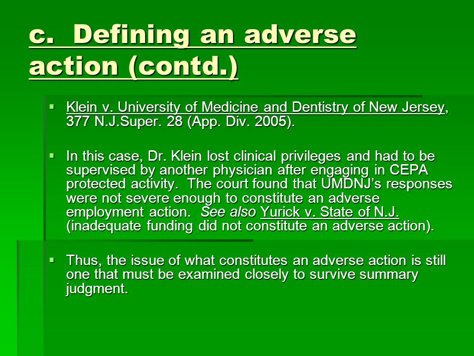 c. Defining an adverse action (contd.)