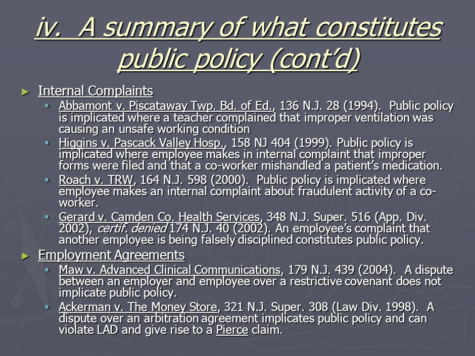 iv. A summary of what constitutes public policy (cont'd)