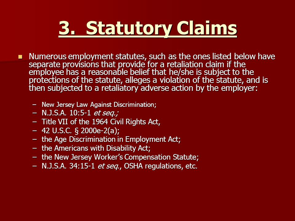 3. Statutory Claims