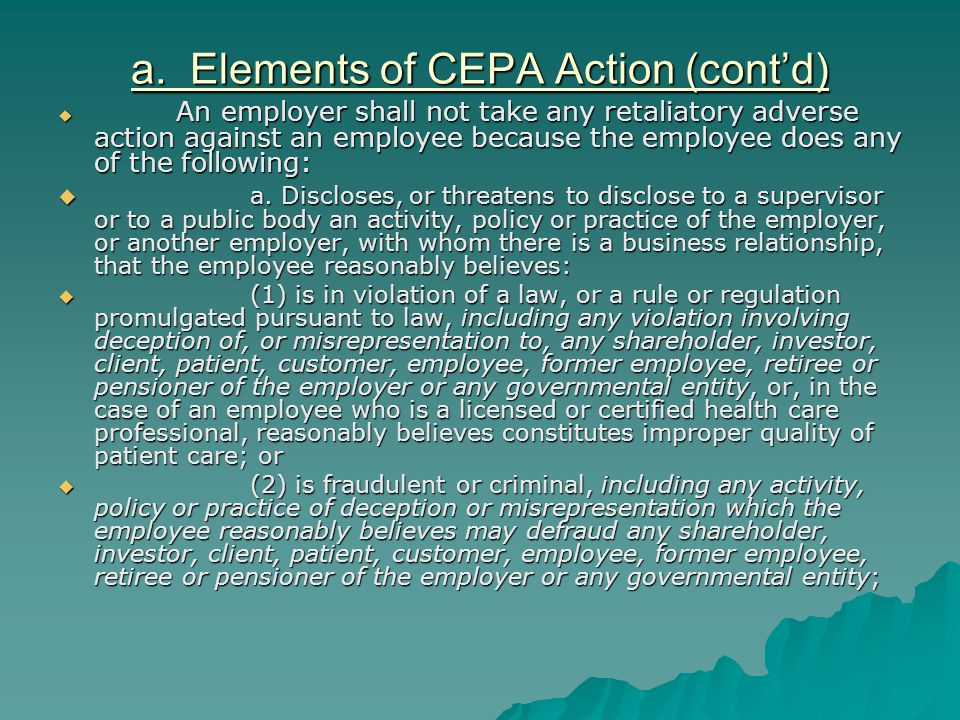a. Elements of CEPA Action (cont'd)