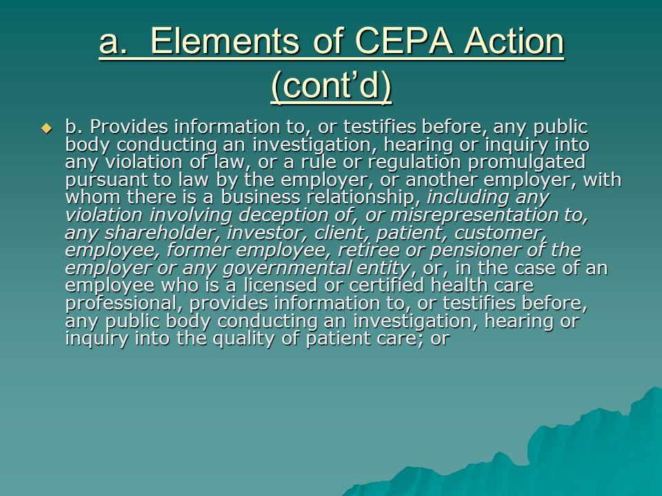 a. Elements of CEPA Action (cont'd)