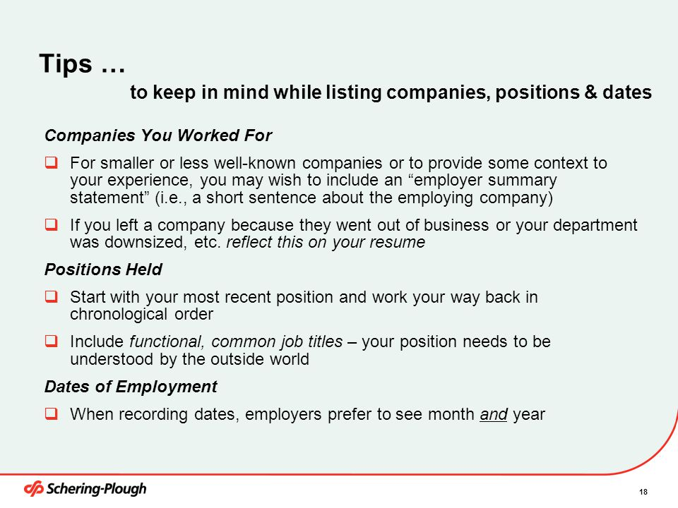 Tips … to keep in mind while listing companies, positions & dates