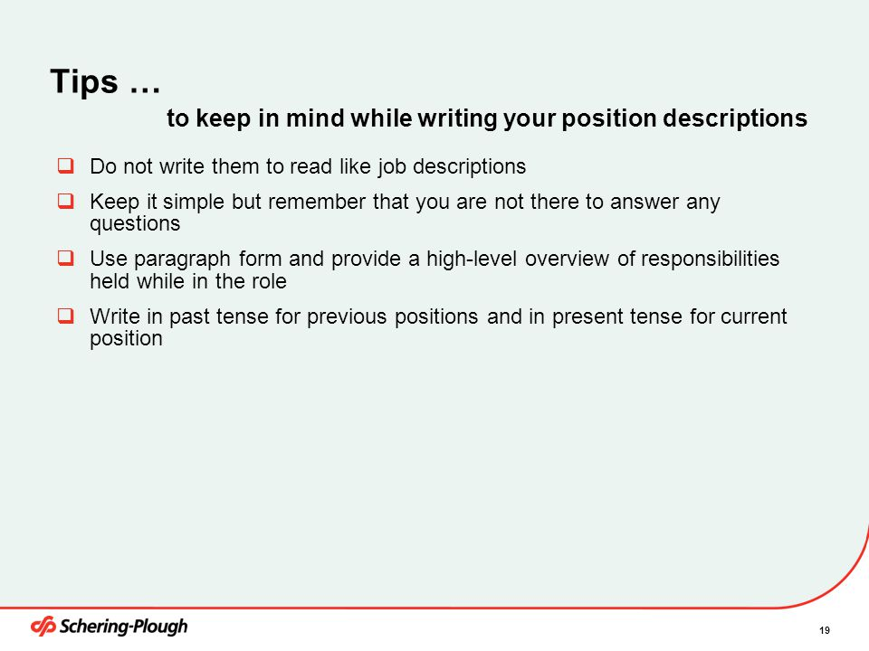 Tips … to keep in mind while writing your position descriptions