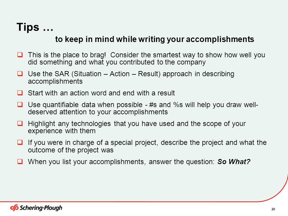 Tips … to keep in mind while writing your accomplishments