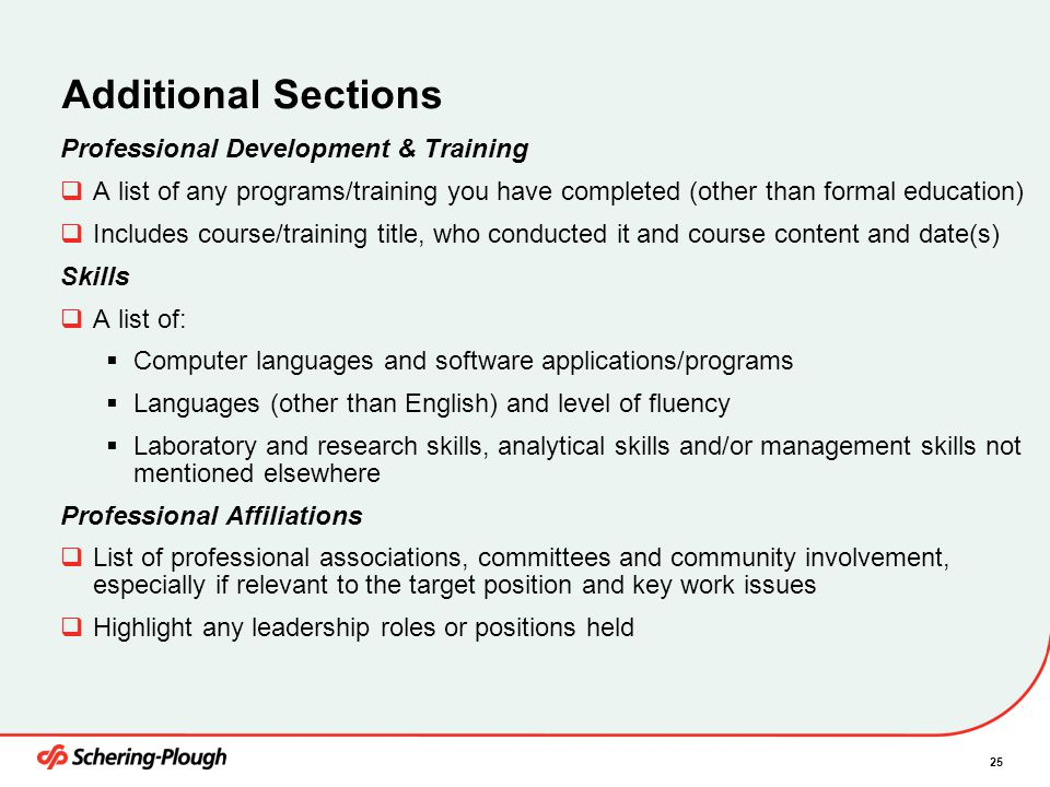 Additional Sections Professional Development & Training