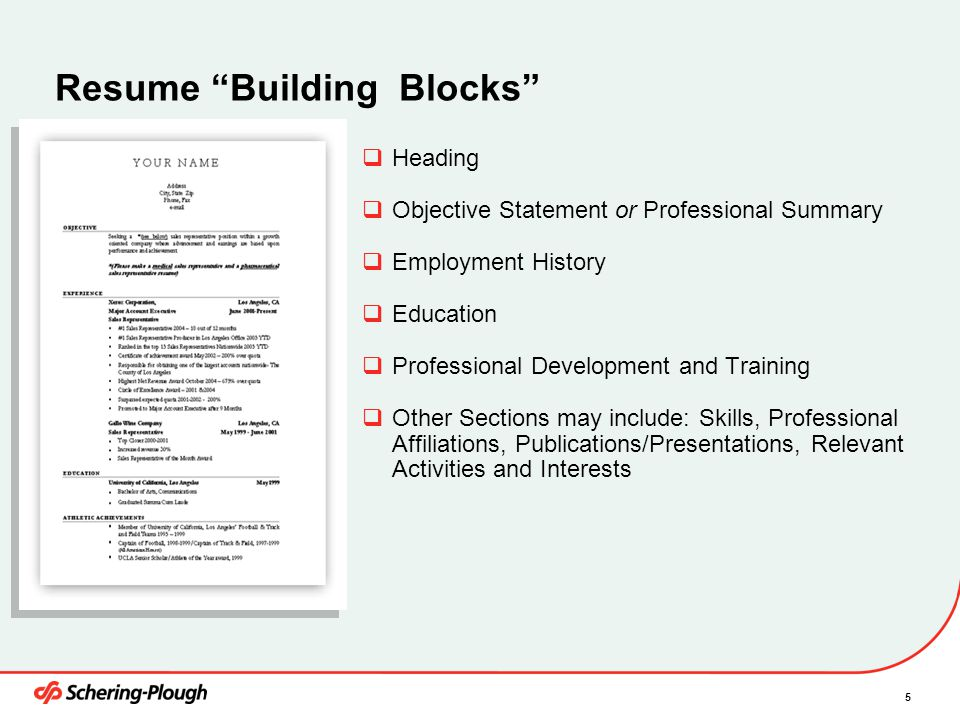 5 Resume U201cBuilding Blocksu201d  Resume Building