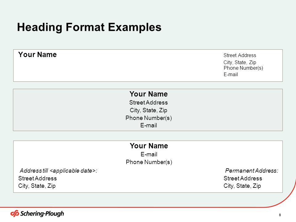 Heading Format Examples