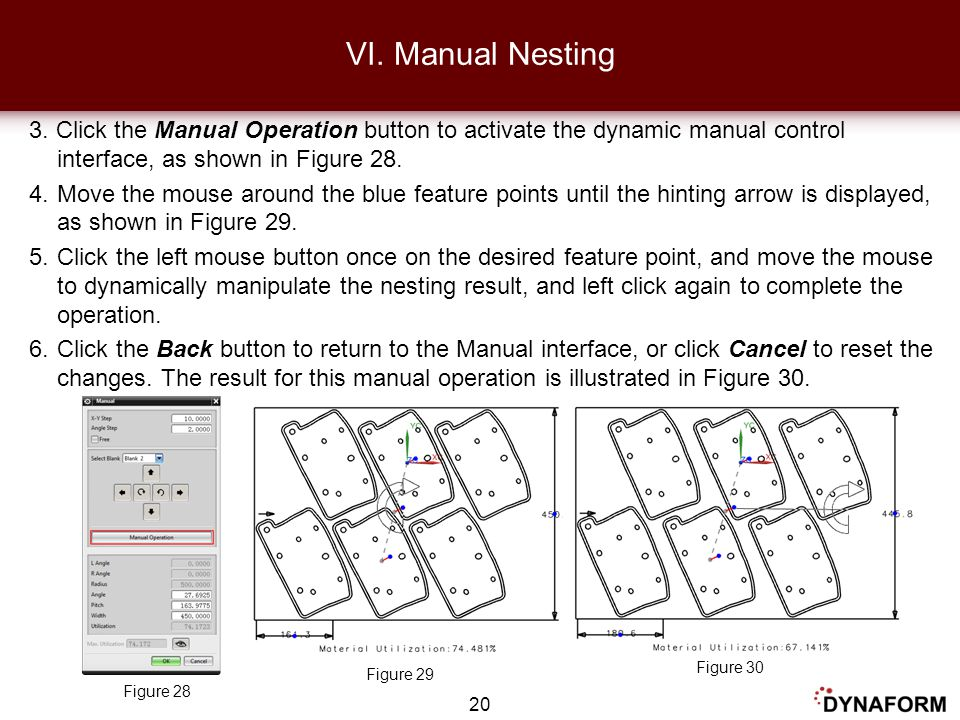 VI. Manual Nesting 3. Click the Manual Operation button to activate the dynamic manual control interface, as shown in Figure 28.