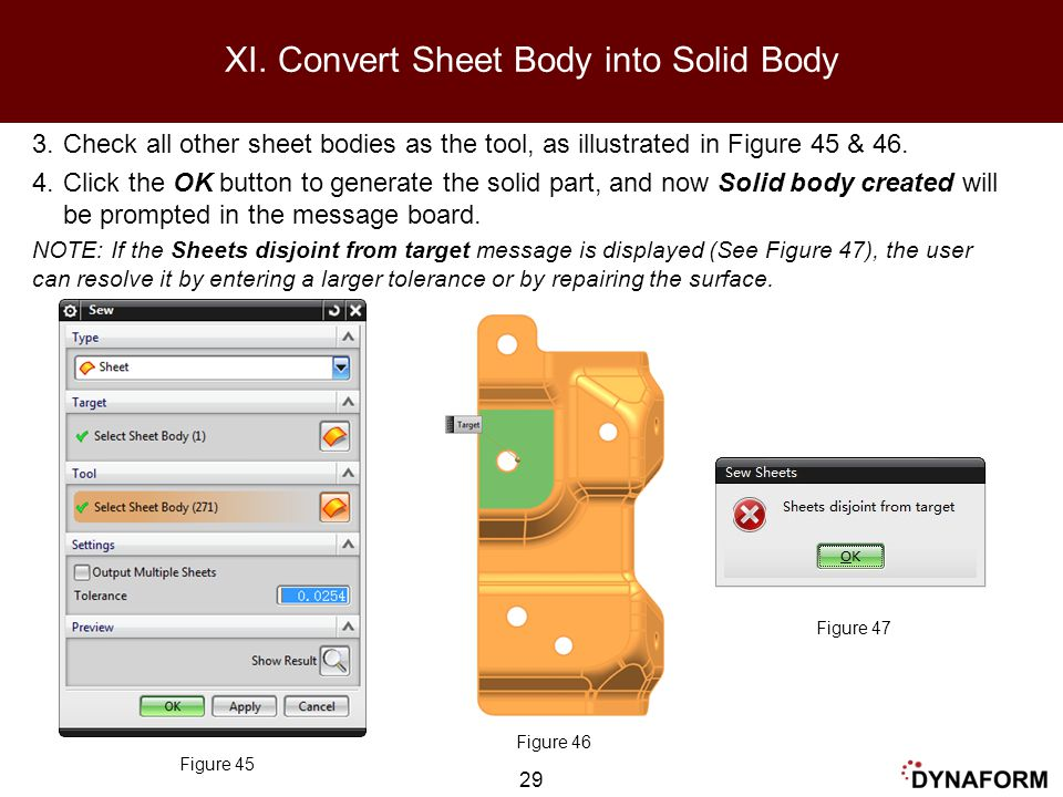 XI. Convert Sheet Body into Solid Body
