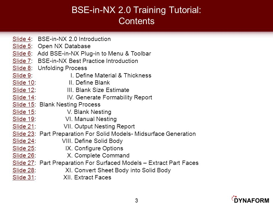 BSE-in-NX 2.0 Training Tutorial: Contents