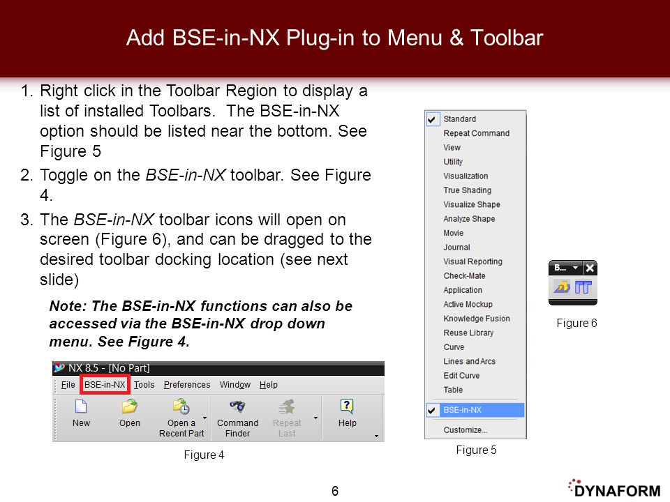 Add BSE-in-NX Plug-in to Menu & Toolbar