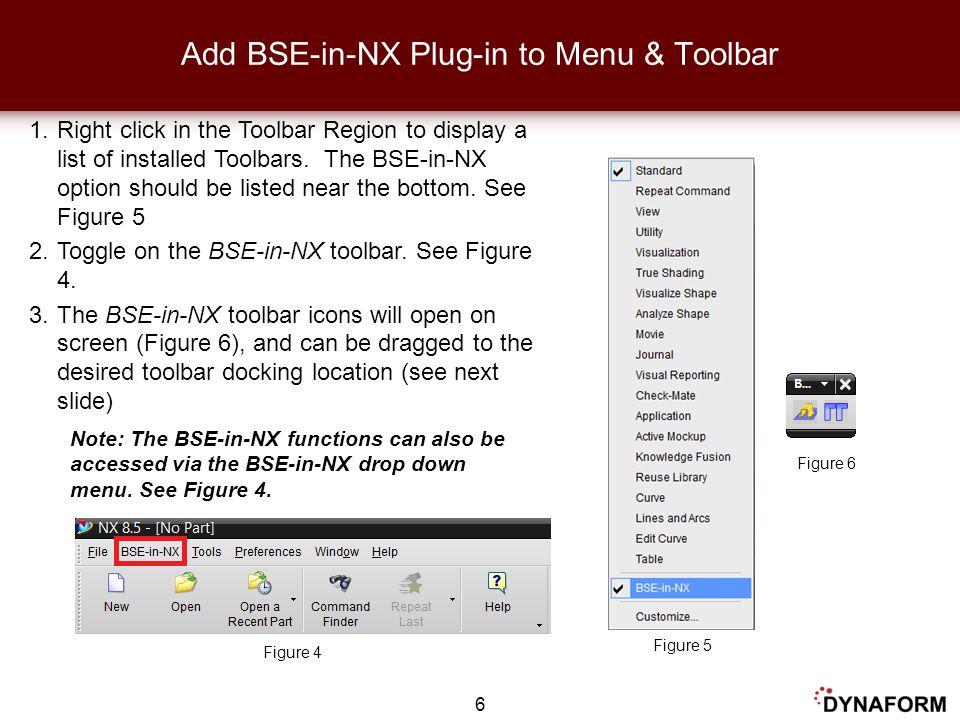 Add BSE-in-NX Plug-in to Menu & Toolbar