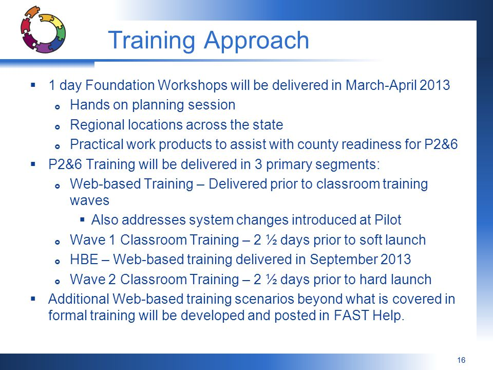 Training Approach 1 day Foundation Workshops will be delivered in March-April Hands on planning session.
