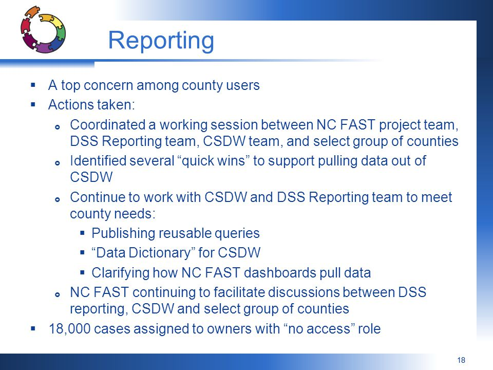 Reporting A top concern among county users Actions taken: