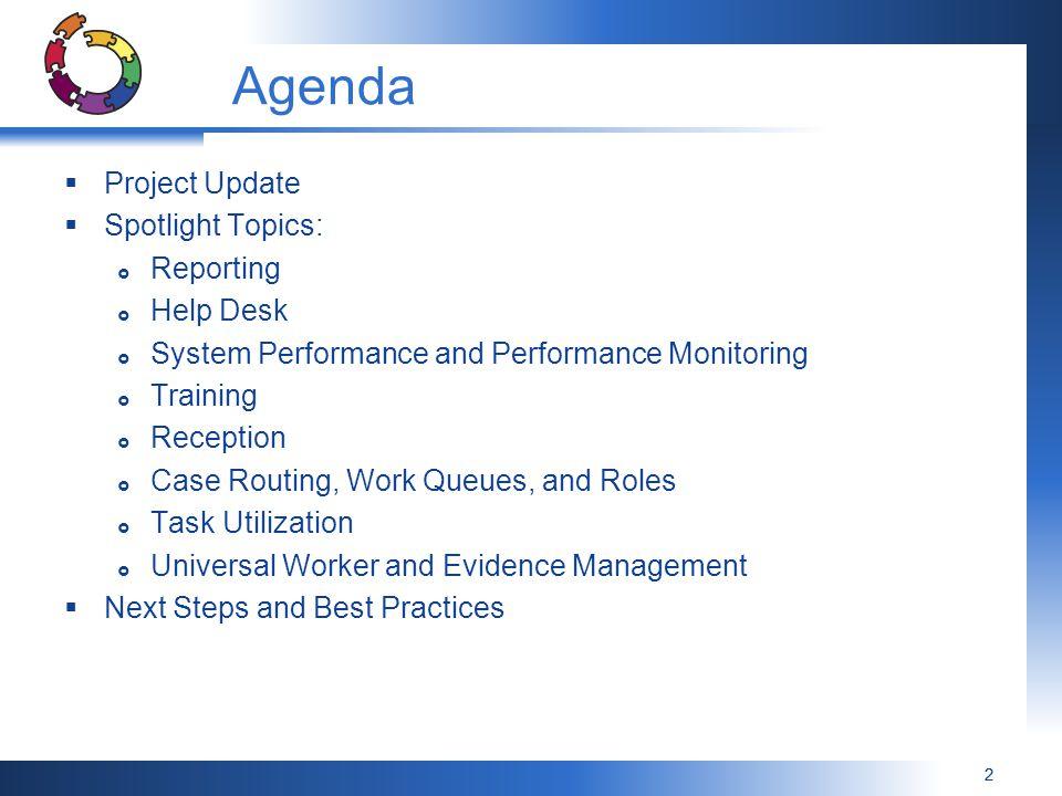 Agenda Project Update Spotlight Topics: Reporting Help Desk