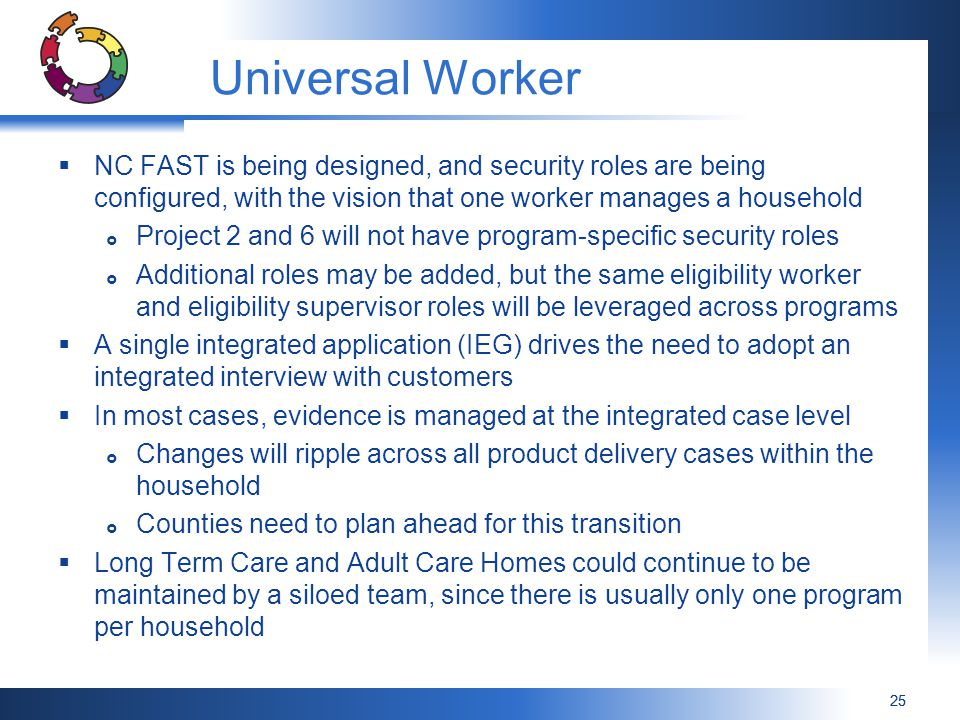 Universal Worker NC FAST is being designed, and security roles are being configured, with the vision that one worker manages a household.