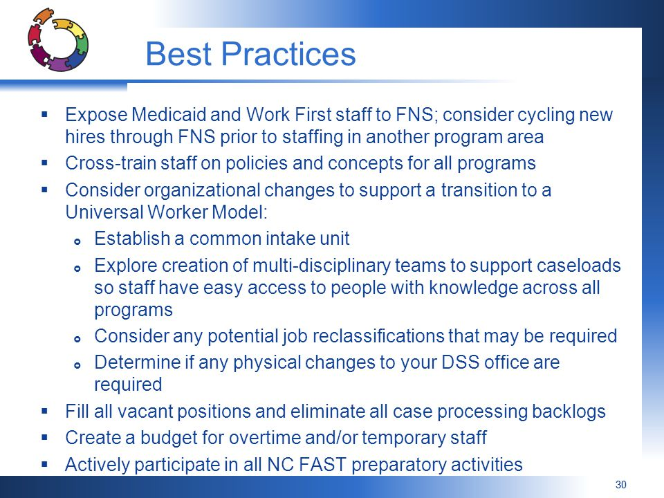 Best Practices Expose Medicaid and Work First staff to FNS; consider cycling new hires through FNS prior to staffing in another program area.