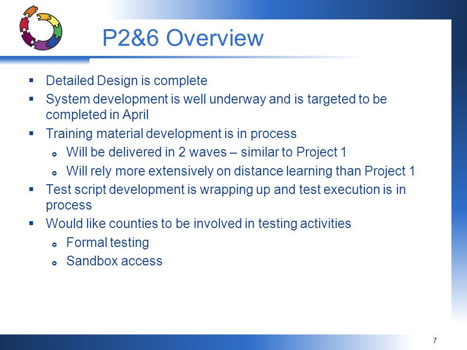 P2&6 Overview Detailed Design is complete