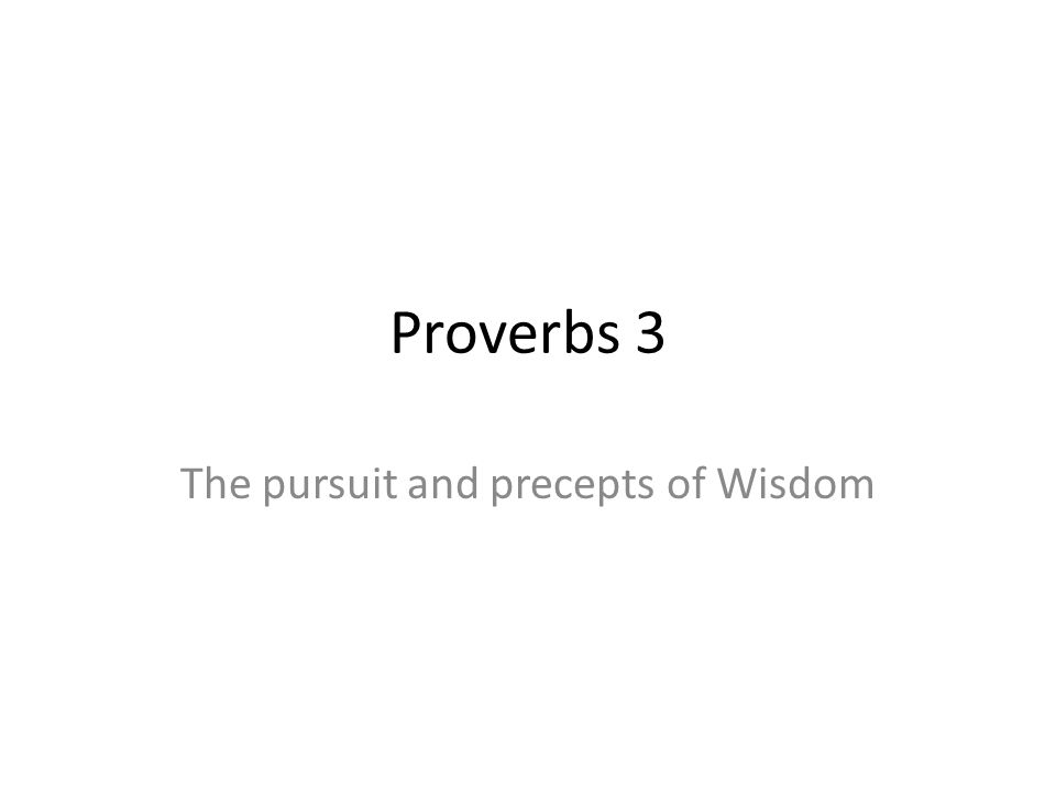 The pursuit and precepts of Wisdom