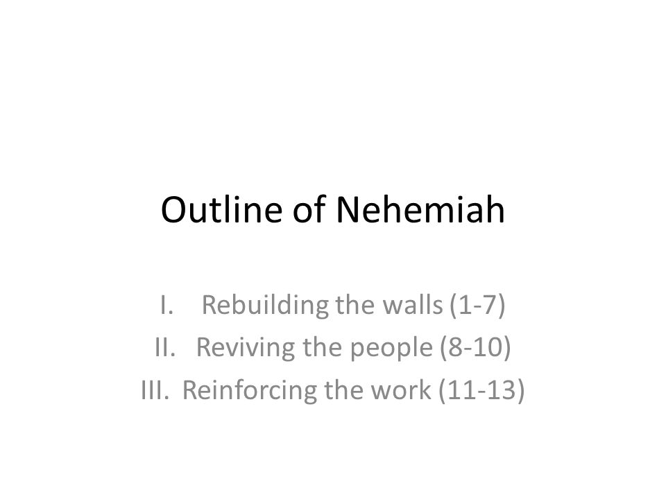 Outline of Nehemiah Rebuilding the walls (1-7)