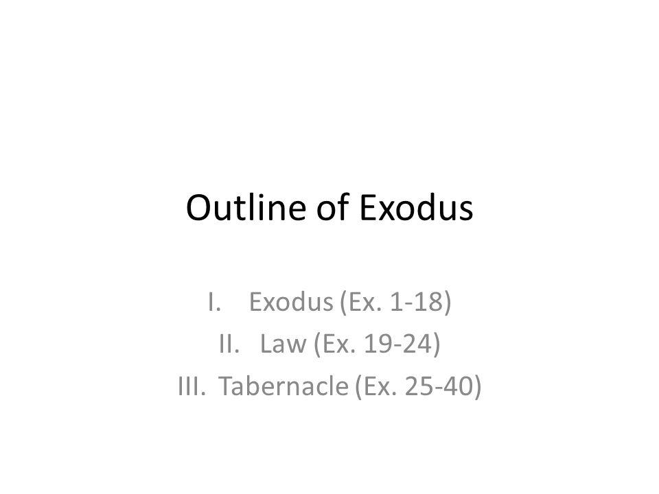 Exodus (Ex. 1-18) Law (Ex. 19-24) Tabernacle (Ex. 25-40)