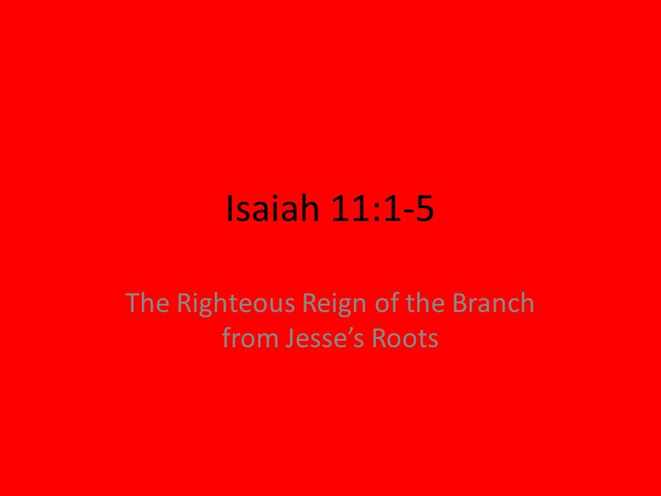 The Righteous Reign of the Branch from Jesse's Roots