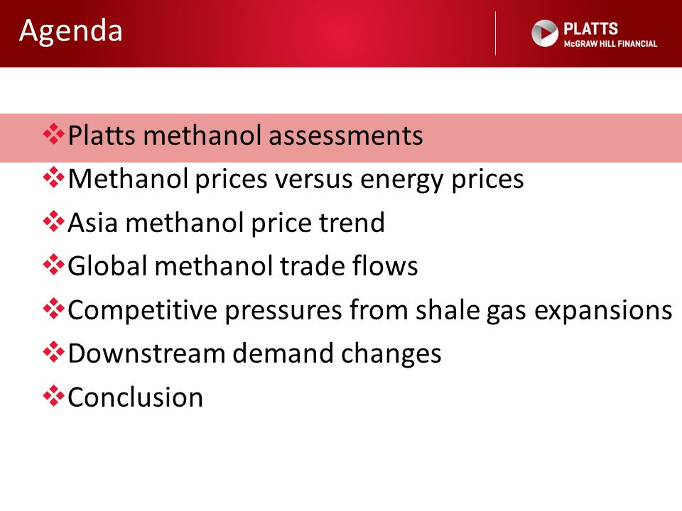 Agenda Platts methanol assessments